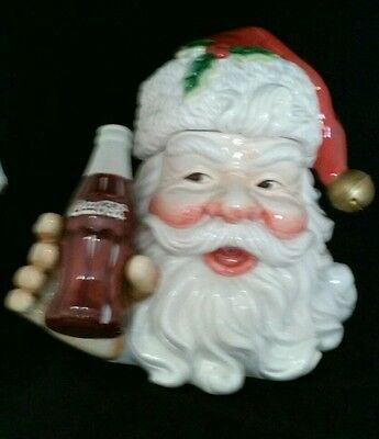 Coca-Cola Santa Claus Large Ceramic Cookie Jar Christmas Collectable Decor. Soda