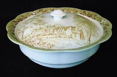 """J & G Meakin """"romantic England Green"""" Round Covered Vegetable Bowl - Beautiful!"""