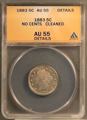 1883 5C Liberty Head V Nickel - No Cents ANACS AU55