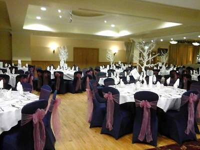 100 Navy Lycra Banquet Wedding Chair Covers with Straight Front