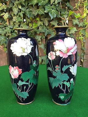 A Pair of Antique Chinese Cloisonne Floral Vases