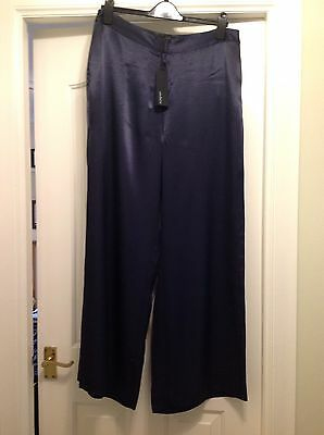 M&S Autograph Navy Flared Trousers Size 14 NEW