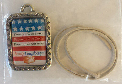 Longaberger Pewter Tie-On ~Proudly American Pride Flag Patriotic~ July 4Th ~New