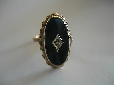 Antique Victorian 14K Gold Onyx Mourning Ring 2.4 g Size 5.5