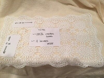 LOT 3/Vintage Hand Made Crocheted Doily-White Rectangle Shaped 18.5x11/FREE SHIP