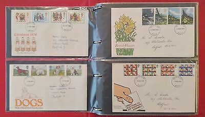 Collection of 69 GB FDC Stamp Sets 1978 - 1987 in Album Binder