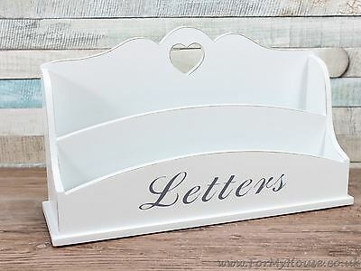 White shabby chic heart letter rack storage office kitchen organiser