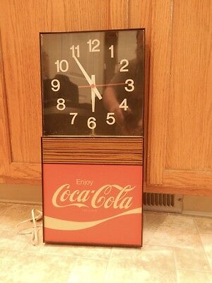 "Vintage 1970s Lighted Coca-Cola Clock Store Display by Ridan Displays 21"" tall"