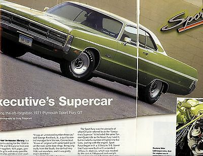 1971 PLYMOUTH SPORT FURY GT  6  pg Color Article