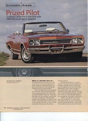 1969 PLYMOUTH SPORT SATELLITE CONVERTIBLE PILOT CAR 7 pg COLOR Article 1 of 1