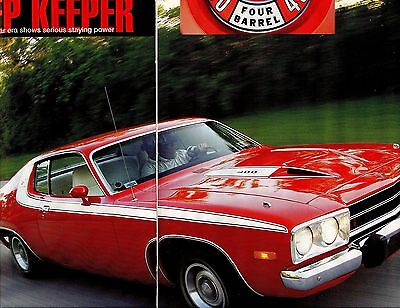 1973 PLYMOUTH ROAD RUNNER Road Test 7 pg Color Article