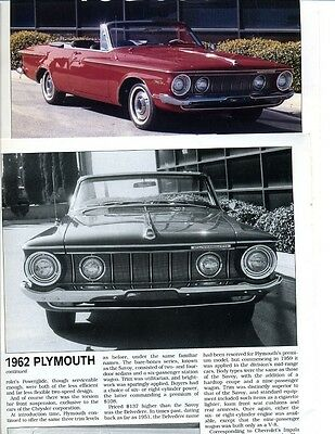 1962 PLYMOUTH SPORT FURY 8  pg Color DRIVE REPORT Article Belvedere