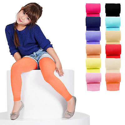 KIDS FASHION Girls Soft Microfiber FOOTLESS Tights 40 Denier Colours Years 6-13+