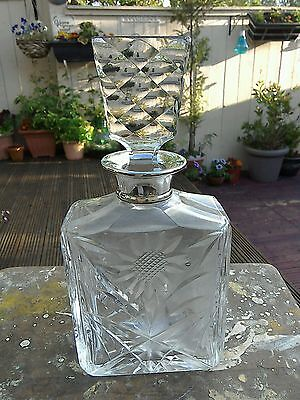 Silver Topped Crystal Whiskey Decanter London Maker Mark
