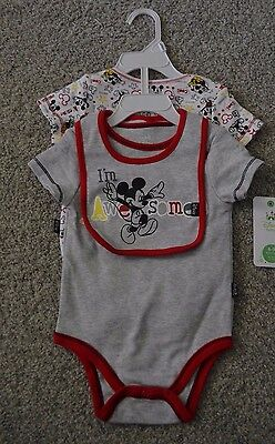 Infant 6-9 Months Disney Baby Mickey Mouse 3 Piece Set Bodysuit and Bib NWT NEW