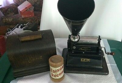 Edison Gem Cylinder Phonograph Record Player Model w/Horn Oak Box Conical Horn.