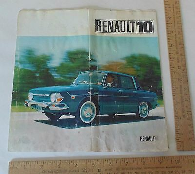 1967 RENAULT 10 - illustrated BROCHURE / FOLD-OUT - As Is with Water Damage