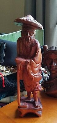 Antique Oriental Asian Hand Carved Wooden Statue
