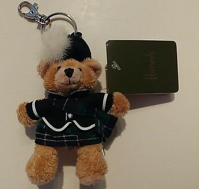 NWT Harrods Piper Teddy Bear Keychain London plaid kilt royal guard hat uniform