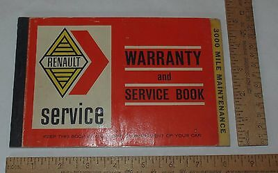 RENAULT service - WARRANTY and SERVICE BOOK - used - illustrated