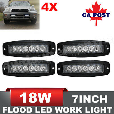 4X 7inch 18W Flood LED Light Bar Flush Mount Driving/Work Fog Lamp 4WD Truck