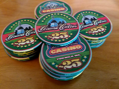 Lot of 21 green $25 chipco Poker Chips GRAND CENTRAL CASINO Lakewood, WA
