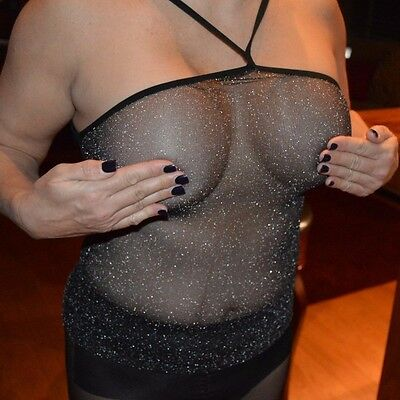 New Lurex Sheer Black Silver halter top lingerie One Size + matching Thong