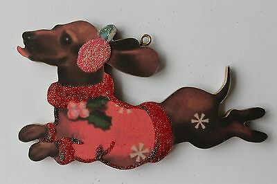 Dachshund Dog in Sweater * Christmas Ornament * Vintage Card Image * Glitter