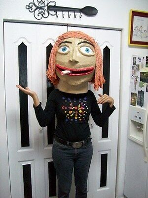 Large Full Head Halloween Mask Costume Hand Made One of a Kind Female Face