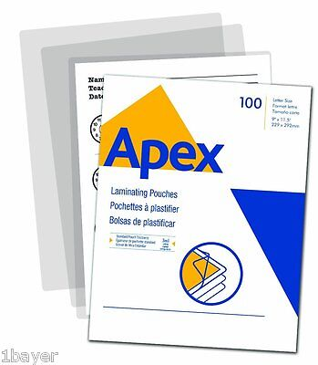 "Apex Office Art Copy Thermal 3 Mil Laminator Letter Pouch 9x11.5"" Size 50pc"