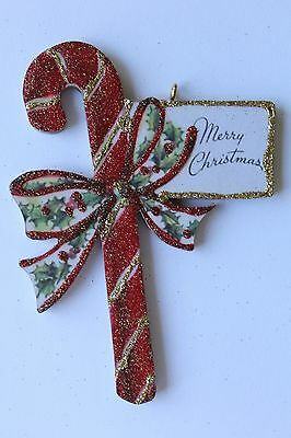 Candy Cane with Greeting  * Christmas Ornament * Vintage Card Image * Glittered