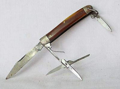 Vintage Small Pocket Knife with Scissors – Bone Handle, German?
