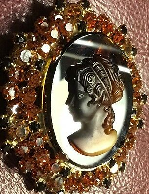 Stone Cameo, Tiger's Eye and Agate, Breathtaking Perfect Rhinestones