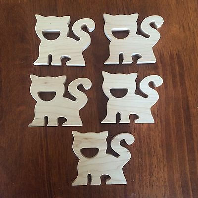 Natural Organic Wooden Teething Toy Baby Teether DIY Cats - wholesale 5 Pieces