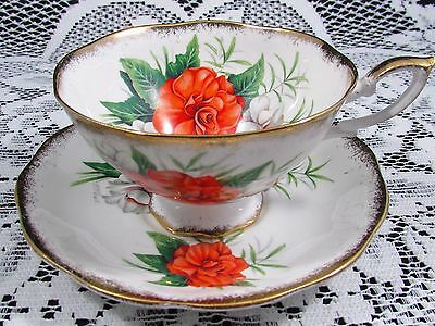 Royal Standard Radiance Orange Floral Wide Mouth Tea Cup And Saucer