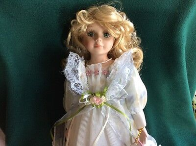 """Porcelain Doll & Stand 17"""" tall,  J. Misa Collection , Collectible, new with tag"""