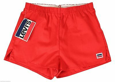 "NEW VTG 80s LEVIS Red SHORT SHORTS 28"" Waist Youth Medium 10-12 Made In USA NWT"