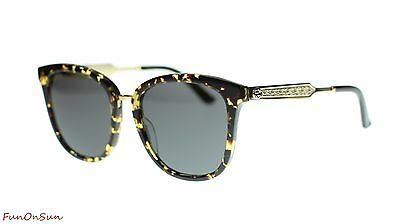 3c85ddf9f1fba Gucci Women Square Sunglasses GG0073S 002 Havana Gold Grey Lens 55mm  Authentic