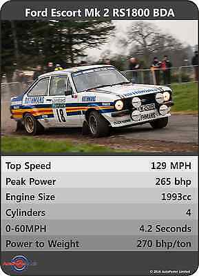 FORD ESCORT Mk2 RS1800 BDA Car Trumps Poster A3 RS2000 Rally UNIQUE GIFT