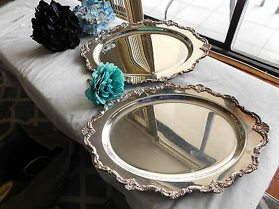 """Vintage 70s lot set 2 Waverley Wallace silver plated ornate oval tray dish 17"""""""