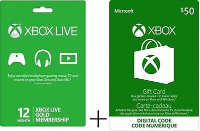 Xbox Live Gold 12 Month Membership + $50 E-Card for only $125!