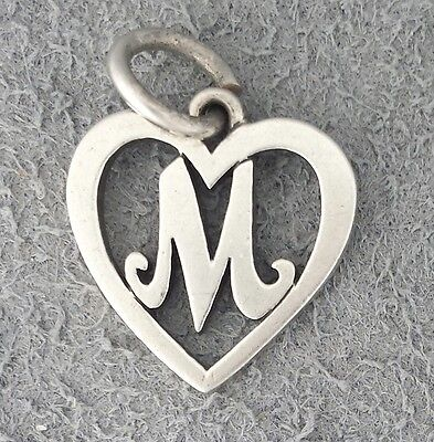 RETIRED Sterling silver James Avery HEART LETTER M charm, open rare