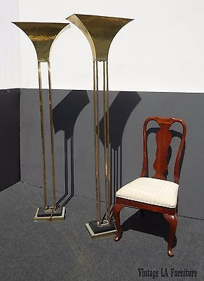 Pair of Unique Vintage Mid-Century Art Deco Brass Plated Floor Lamps