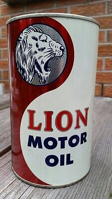 Rare Lion Motor Oil Imperial Quart Full Tin Can Lion Oil Company Toronto Canada