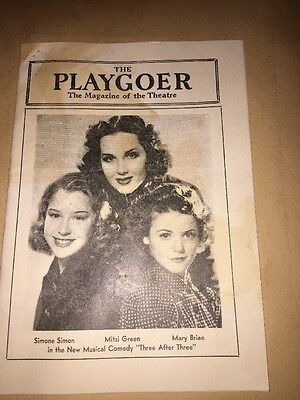 "1939 The Playgoer Magazine of the Theatre Forrest Theatre  ""Three After Three"""