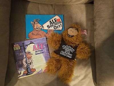 Retro TV Shows 80s ALF Alien Life Form LOT - stuffed puppet and 2 books!