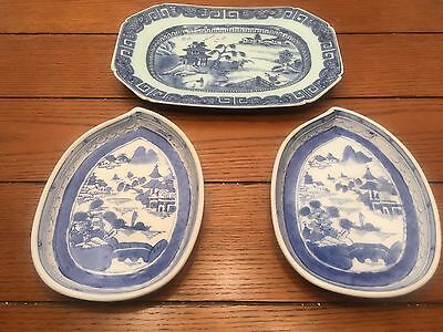 3  Chinese Export Porcelain Blue & White Canton Plates 1 Rectangle, 2 Leaf