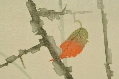 Hanging Scroll Japanese Painting Dead leave Japan art Bird Picture Ear rice b205