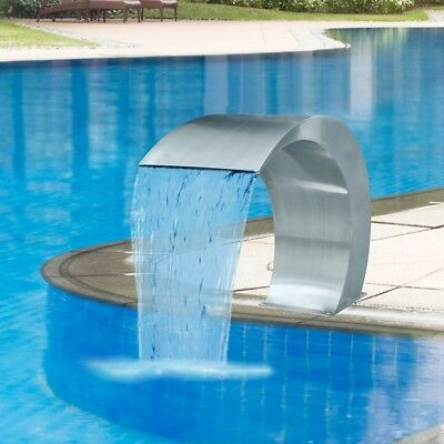 #Water Feature Stainless Steel Waterfall Fountain Swimming Pool 45x30x60cm Garde