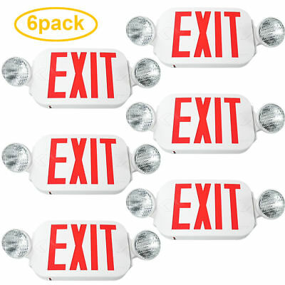 6pack LED Exit Sign & Emergency Light – High Output - RED Compact Combo UL New
